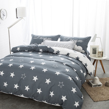 bedding sets black and white star print 100% cotton twin/double/queen duvet cover bed sheet pillows bedline for boys/boyfriend(China)