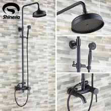 "Luxury Oil Rubbed Bronze Bathroom 8"" Rain Shower Faucet Set  Wall Mounted Tub Shower  Mixer Tap"
