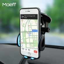 Moeff Universal Mobile Car Phone Holder Stand Cell Sucker Holder 360 Degree Adjustable for iphone 5 6 7 plus Samsung Car Mount(China)