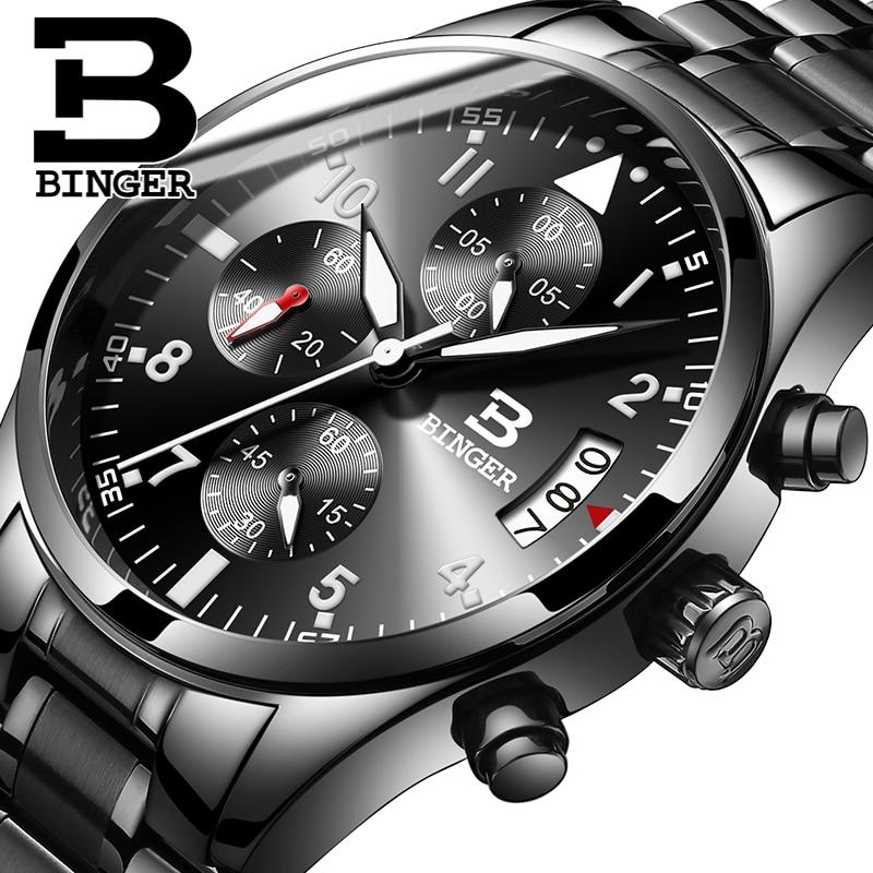 Switzerland Binger Mens Fashion Sports Military Watches Chronograph Mens Quartz Wristwatches Waterproof Relogio Masculino<br>