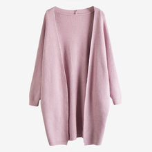 Fashion Women Long Cardigan Coat Batwing Sleeve Loose Girl Knitted Sweater Cardigan Solid Pink White Cardigans Casaco Feminino(China)
