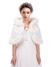 Fashion Winter Ivory Faux Fur Bridal Wedding Wrap Hooded Cape Formal Evening Party Jacket Bolero w/ Hat Size S M L PJ160005(China)