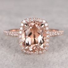 Ring For Women 9x7mm Oval Cut Morganite Engagement Gold Ring 14k Rose Gold Accent white Topaz Wedding Band Gemstone Bridal Set