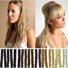2PC Wholesale  Fashion Synthetic Hair Plaited Elastic Headband Braided Hair Bands Hair accessories