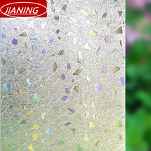 60cm wide static 3D no plastic sliding door window sun window film insulation decorative translucent glass crystal flower(China)