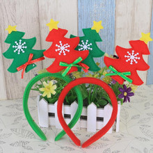 2017 New Christmas Tree Headband Snowflake Bowknot Decorated Hair Band Women Girls Headwear Hair Accessories Natal Navidad