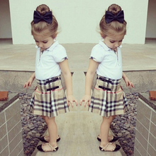 Summer Stylish Kids Clothes Sports Outfit Classical Design Girls Clothes 2PCS Clothing Set (T-shirt+Plaid Skirt)