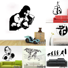 Art Design Home Decoration Cheap Vinyl Boxing Player Wall Sticker Removable House Decor Sports Match Gym Decorative boy Bedroom