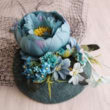 New Design Turquoise Sinamay Base Fabric Flower Linen Fascinator Wedding Veil Top Hat Bride Party SHow Fashion Sinamay Hair Clip