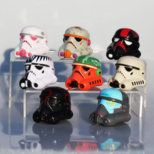 8pcs/lot Stormtrooper Helmet Star Wars Figure Black Knight Fett Clone Trooper Darth Vader Helmet PVC Action Figure Toy Model