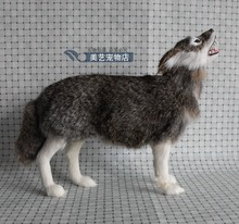 simulation large wolf 30x9x25cm  toy model polyethylene&furs wolf model home decoration props ,model gift d116