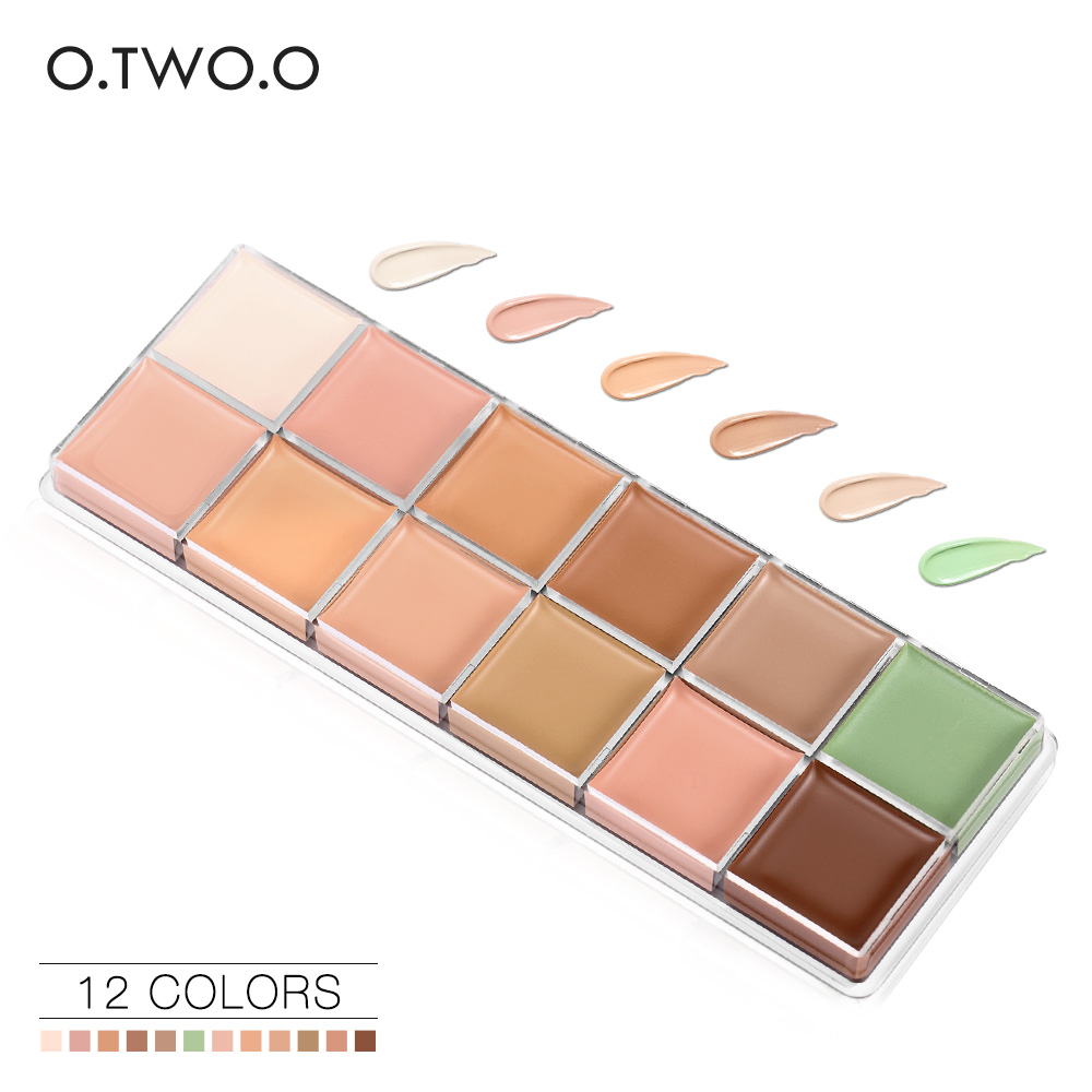 O.TWO.O 12 Colors Beauty Face Cream Makeup Concealer Palette Contour kit Concealer Cream Long Lasting Waterproof(China (Mainland))