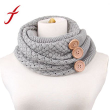 Feitong Fashion Winter Keep Warm Scarf Two Circle 3 Buttons Knitting Wool Collar Cowl Neck Ring Scarf Shawl For Women New(China)