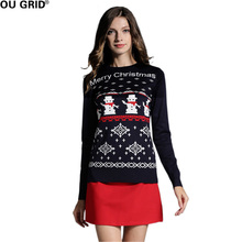 Women's Sweater Pullovers Long Sleeve Cute Girls Reindeer/Snowman Pattern Knit Party Pullover Jumper(China)