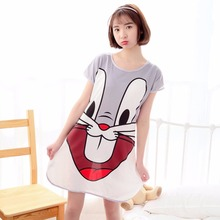 Women Cartoon Dot Sleepwear Short Sleeve round neck Sleep dress nightgrown nightwear casual homewear for lady multi colors