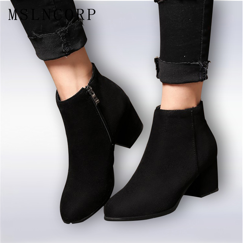 Plus Size 34-45 Women Boots High Heels Ankle Boots Short Plush Round Toe Motorcycle Boots Fashion Sexy Winter Snow Boots Shoes