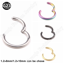 SwanJo 1PC G23 Titanium 16G Hinged Segment Ring Septum Clicker Piercing Nose Earring Tragus Nose Pircing Nariz Body Jewelry