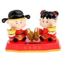 New Novelty Solar Toys Cute Solar Powered Wealth Blessing Golden Couple Dolls Home Car Ornament Office Decoration Kids Toy Gift