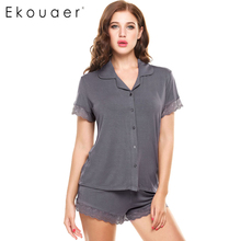 Ekouaer Short Sleeve Pajama Pyjamas Set Women Sleepwear Loungewear Lace Patchwork Slim Nightwear Knit Slim Pajamas Set(China)