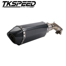 Motorcycle exhaust pipe muffler Intermediate link contact tube For SUZUKI GSX250+51mm carbon exhaust pipe muffer