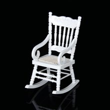 New Hot 1/12 Dollhouse Miniature Wooden Rocking Chair Model White Classic Simulation Furniture Kids Toys for Child Doll Accessor(China)