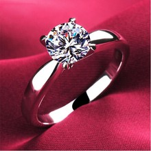 Wholesale Plating Classic Uplifted 4 Prong Single Zirconia Anillos Mujer Wedding Ring for Women(China)