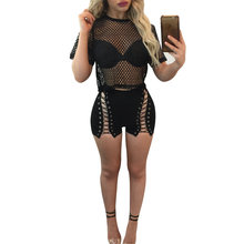 Misstyle Autumn Hollow Out Crop Top + Shorts Elastic  Mesh Short Pant 2 Pieces Set Women's Costume Sets Club Sets Sexy Mini