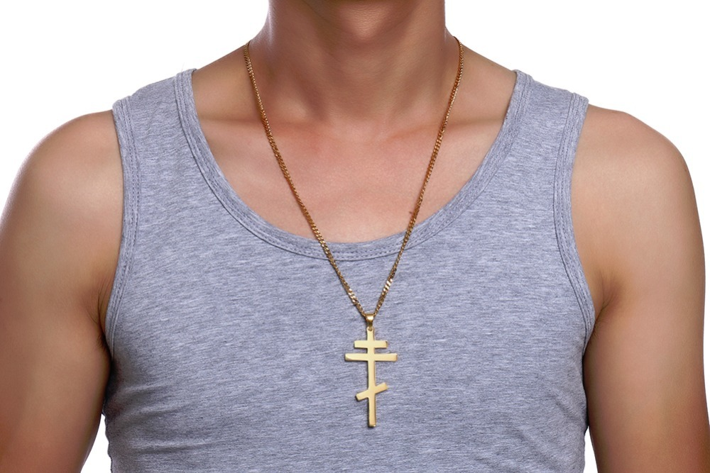 Authentic Russian Orthodox Cross Pendant Necklace for Men 19