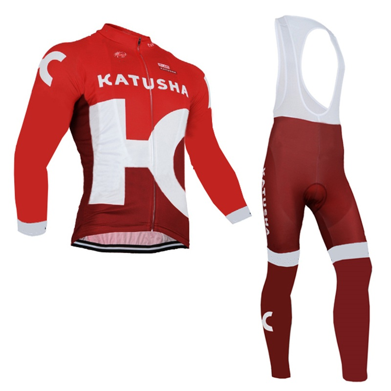 winter thermal fleece pro team katusha Ropa Ciclismo Bicycle maillot red cycling jersey warmer bike clothing MTB 3D GEL<br>