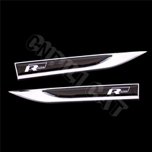 2Pcs Black R-Line R Line Car Body Fender Side Knife Emblem Stickers for VW Golf Polo Atlas CC Etc.(China)