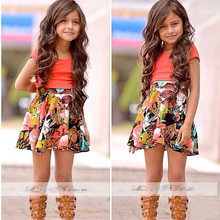 RQ-128 Free shipping summer girl dress fashionable design dress with belt girl's clothes children's dress retail(China)