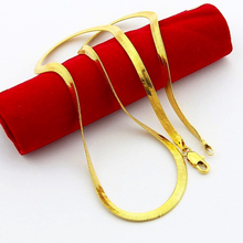4mm men's chain necklace Wholesale Price,pure gold color snake chain necklace 50CM, Fashion men Jewelry ,24K gold GP necklace