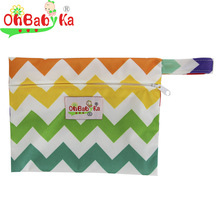 Ohbabyka 1PC Reusable Mini Wet Bag Pouch For Menstrual Pads Nursing Pads Waterproof Stroller Small Wet Dry Diaper Bags 18*14CM