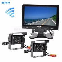 "DIYKIT 12V DC Wireless Rear View Kit Backup Waterproof CCD Camera Kit System 7"" Touch Monitor for Horse Trailer Motorhome"