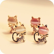 Korean version of the popular sweet temperament wild cat opal earrings vintage jewelry wholesale  free shipping