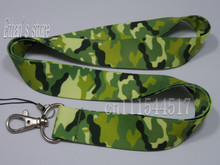 Free Shipping ONE PC Camo Key lanyard Army Green Mobile Neck Strap  ID Holders