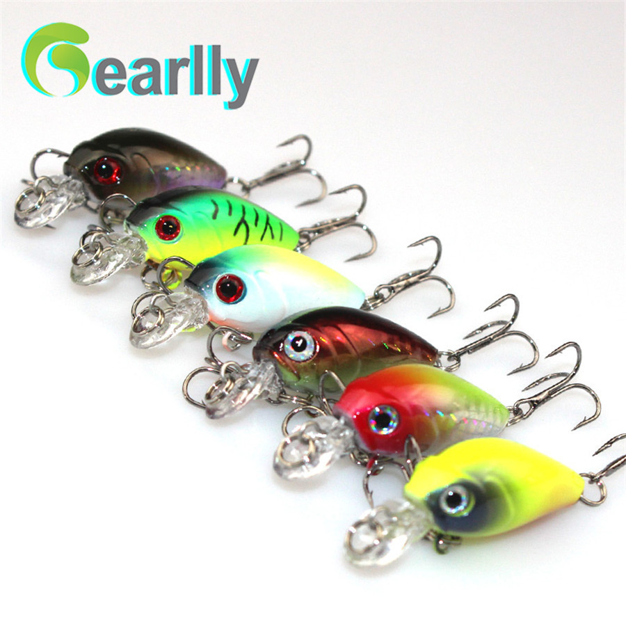 6 PCS/Lot Gearlly CB007 economic 45mm 4.2g Artificial Crank Hard Wobblers Fishing Lure Fishing Bait With 8#black VMC Hooks<br><br>Aliexpress