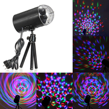 New fashion RGB Stage Disco Light 110-220V With Support Big Promotion Mini Full Color LED Crystal Rotating RGB Stage Light(China)