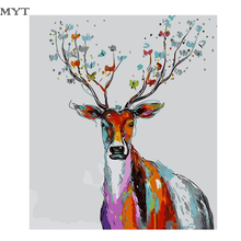 Frameless Deer Love Diy Digital Painting By Numbers Wall Art Acrylic Paint On Canvas Handpainted Oil Painting Unique Gif(China)