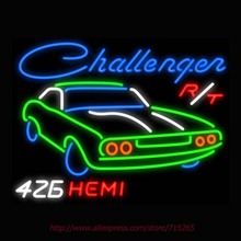 Dodgee Challenger 426 Hemi Neon Sign light Car Neon Bulbs signage Vintage neon signs Garage Real Glass Tube Board Brand 31x24(China)