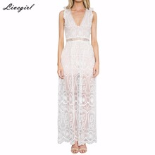 Sexy Summer Women Maxi Long White Dress Elegant Sleeveless V Neck Lace Floral Crochet Hollow Out Solid Party Dress Vestidos