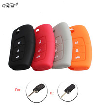 RIN NEW Black Gray Orange Red Silicone Car Auto Remote Fob Key Holder Case Cover For Ford Focus Fiesta(China)
