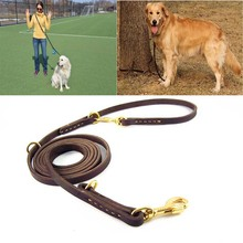 Handmade Dog Double Leash Leather Brown Multifunctional Pet Walking Training Leads For Medium Large Dogs