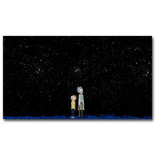 Rick and Morty Starry Night Art Silk Poster Fabric Print 12x21 24x43 inches Anime Cartoon Funny Wall Picture Home Room Decor