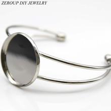 ZEROUP 1pcs 20mm 25mm Silver Plated Bangles Bracelet Blank Round Glass Cabochon Tray Supplies for Jewelry B-003(China)