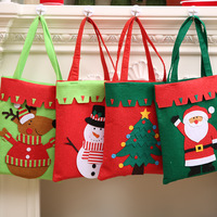 1 Pcs Creative Christmas Gift Bag Tree Pattern Santa Claus Snowman Elk Candy Bag Handbag Home Party Decoration Gift Bag 42*22cm