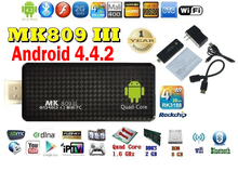 Android 4.4  mini PC Quad core RK3188T Google android tv stick MK809III 2GB RAM 8GB ROM Bluetooth HDMI MK809 III,HDD player