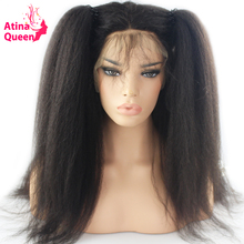 Atina Queen Hair Kinky Straight Wig Glueless Lace Front Human Hair Wigs for Black Women Pre Plucked with Baby Hair Remy Coarse(China)
