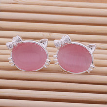 2016 Fashion Jewelry Cut Hello Kitty Stud Earrings Pink/White Loving Gift Party Anniversary Wedding AE125-126(China)
