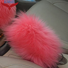 1 Piece New Fashion Car Accessory Long 100% Woolen Sheep Fur Plush Handbrake Cover Woolen Soft Black\Purple\White\Red\Pink